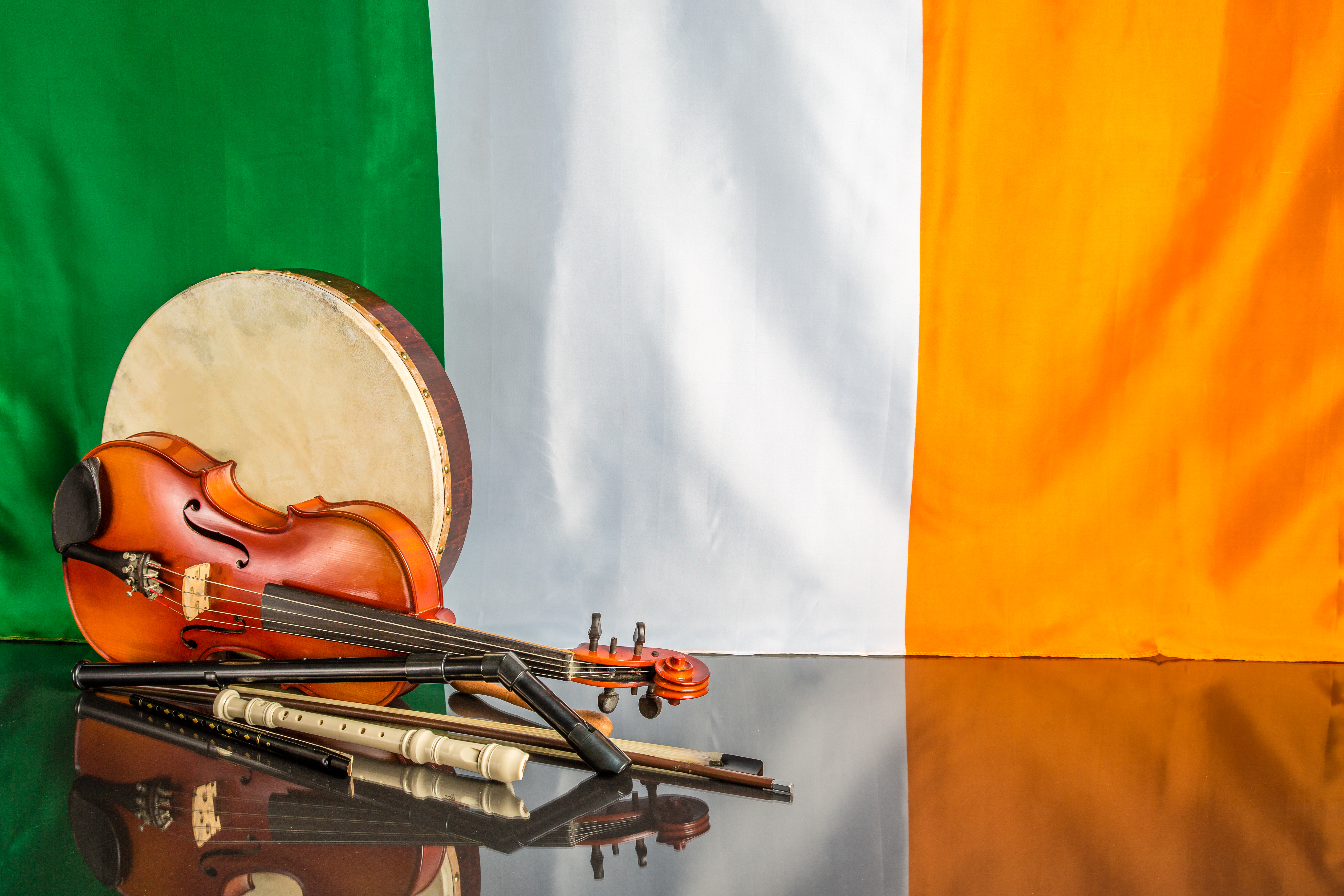 Irish flag with musical instruments